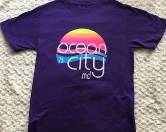 Vintage 1973 Ocean City Maryland Sunset Graphic Tee Small