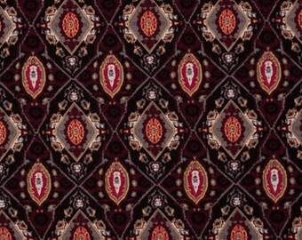 Burgundy and gray geometric print fabric