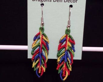 Free Standing Lace Rainbow Feather Earrings