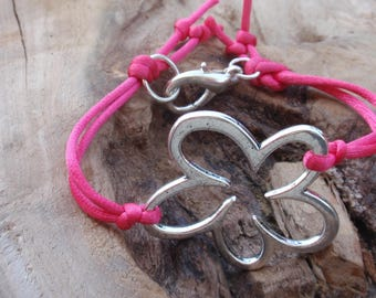 Cord bracelet pink and Silver flower.
