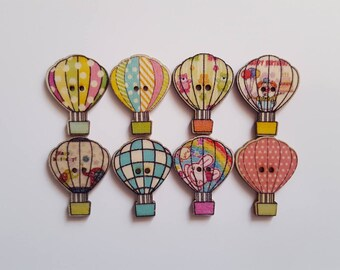 Set of 5 hot air balloon wood buttons