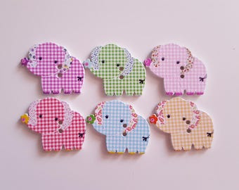Set of 5 wooden elephant buttons