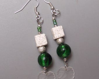 Dangle earrings glass and lava stone.