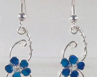 Earrings Navy blue flower
