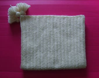 Baby alpaca and Merino 73X62CM natural wool blanket