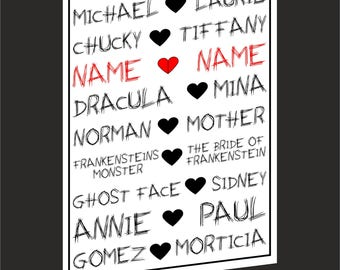 Horror Couples Personalised Valentines/ Anniversary, Love Card