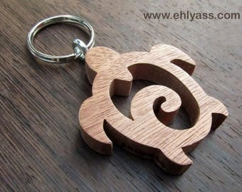 Solid wood made fretwork turtle keychains