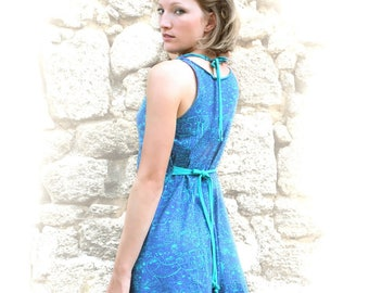 Blessed turquoise printed Night gown