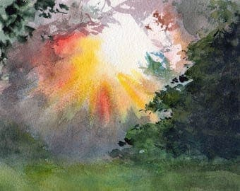 In the clearing - watercolor