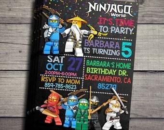 Lego Ninjago Invitation, Lego Niinjago Birthday Invidation, Lego Ninjago Birthday Party Invite, Lego Ninjago Printable