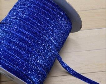Ribbon 10mm dark blue glitter glitter the meter