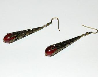 Engraved brass red earrings