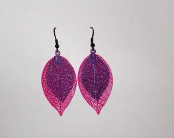 Pink and purple fall leaves earrings