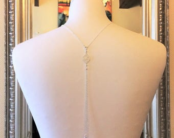 "Back ""Elena"" silver plated chain with swarovski pearls wedding jewelry necklace"