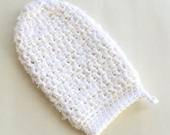 100% cotton exfoliating bath mitten crochet reusable exfoliant ecofriendly skincare natural skincare body scrub bath mitt crochet spa mitten