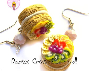Earrings small pastries - Yarrow - to the strawberries with cream Figurines.