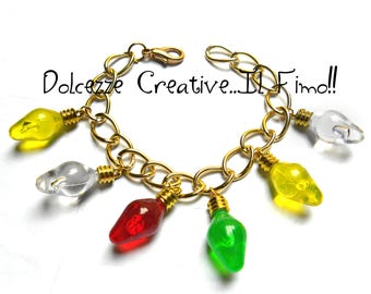 Bracelet row of colorful lights - red, green, yellow, white - handmade Christmas gift idea