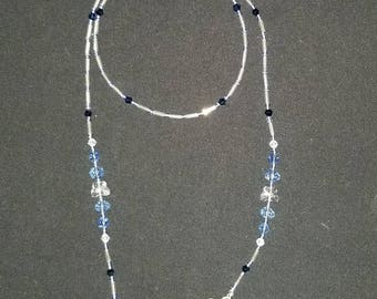 "28"" Blue Designer Eyeglass Holder/Necklace with Swarovski Crystals By PoppiCreations"