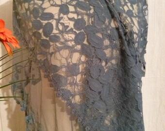 Large denim blue color lace scarf