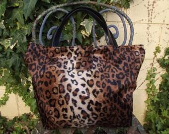 faux fur leopard tote bag