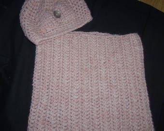 Set Hat + pastel pink women's snood