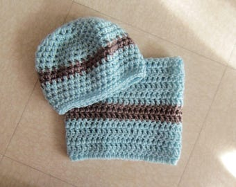 Blue brown hat and Snood color set