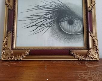 The Elephants Eye Charcoal Drawing