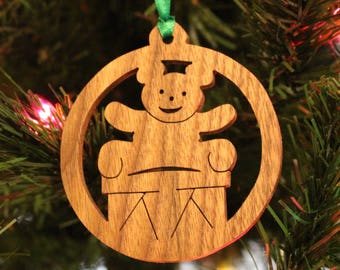 Ornament - Teddy Bear & Drum - Walnut