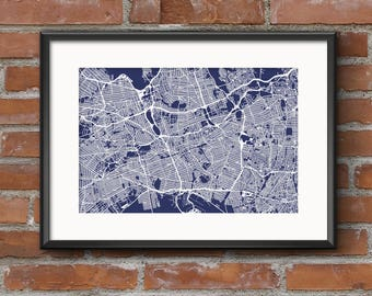 Blueprint map etsy queens map art print nyc blueprint queens map queens art malvernweather Image collections