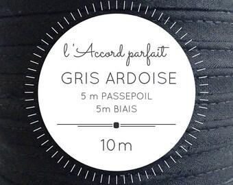 Mix 5 m + 5 m bias piping bag - slate grey