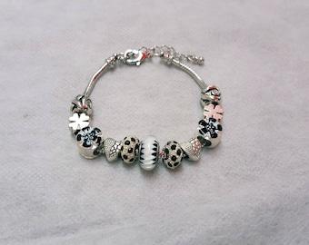 BLACK MAMBA bracelet beads murano/Silver 925/pandora/white/black/unique/jewelry/glass/crystal/Shamrock/gift/charm European/lampwork/femininity