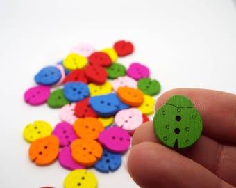 20x Mixed Wooden Ladybird 2 hole buttons 15 mm x 16mm
