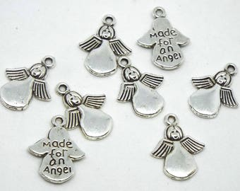 Angel Charm double sided with 'Made for an Angel' on reverse, Silver Coloured Charm