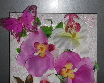 Floral Orchid and Butterfly art print