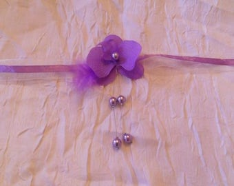 Bracelet Ribbon, and Orchid and purple beads