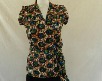 Shirt collar open vest crossover V neck African wax fabric, green, blue and beige. One size 38/40