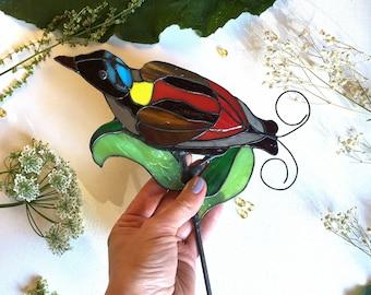 Stained glass suncatcher ~  King bird-of-paradise ~ Tiffany technique ~ Original design ~ Stunning home decor ~ Art Glass ~ Handmade