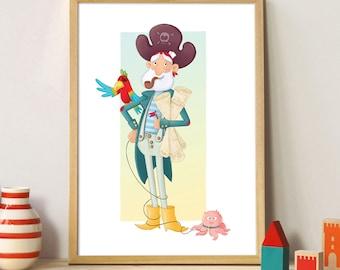 """Pirate"" A4 poster. Illustration kids room"