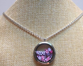 Jewelry necklace memory living Locket fimo flowers purple
