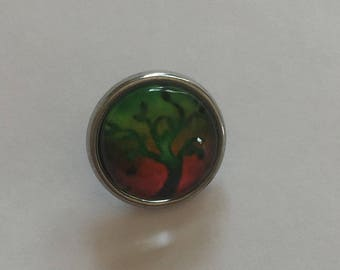 Snap 1.2 cm tree of life green red