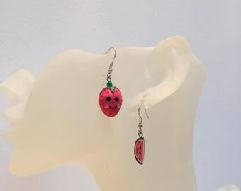 Strawberry watermelon beads earrings