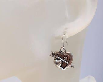 Earrings heart arrow silver