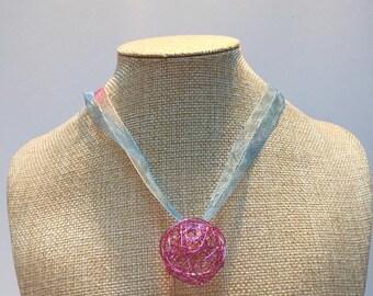 Purple aluminum wire and multicolor organza necklace