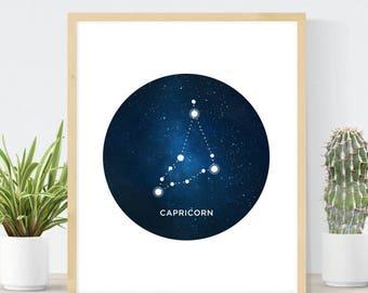 Capricorn Constellation | Horoscope Constellation Art Print | Capricorn Gift | Astrology Art Print | Capricorn Star Sign | Astrology Gift