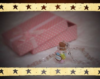 pink yellow blue macarons vial necklace