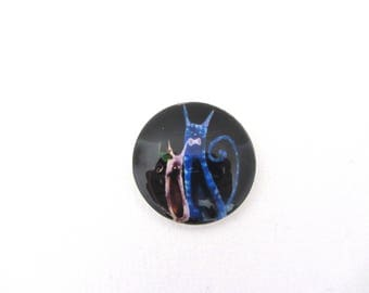 Glass cabochon illustrated round 25mm cat