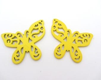 The Lot of two wooden beads yellow butterfly, wooden beads, earrings making
