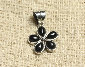 Flower 16mm 925 sterling silver and Black Onyx - stone pendant