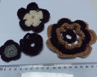 set of 4 crocheted flowers