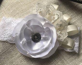 white and ivory headband